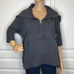 Zara Trafaluc Grey Tunic Pullover Top Size S